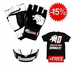 Stack Dominator - ММА ръкавици / Lion + Гума PRO Black + Тениска Dominate СТАКОВЕ