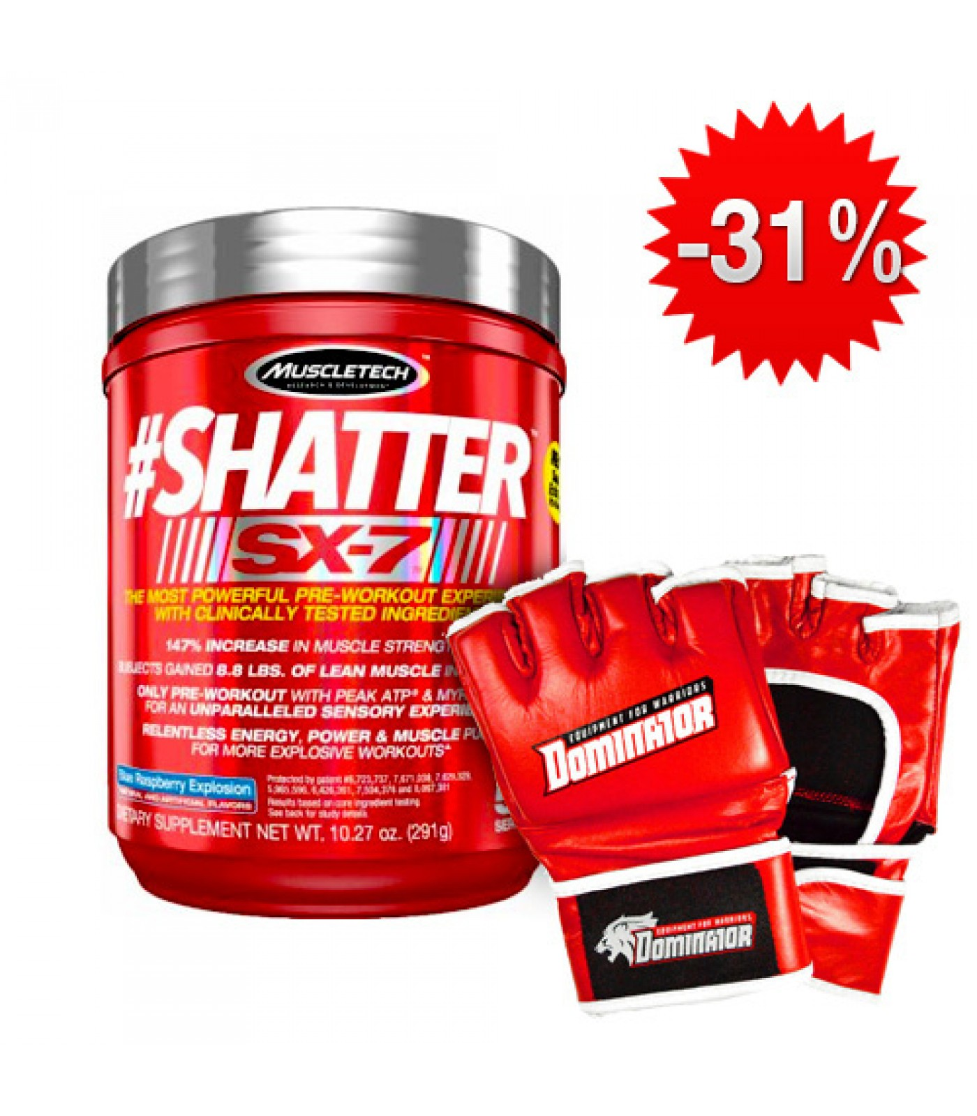 Stack MuscleTech - Shatter SX-7 + Dominator - ММА ръкавици