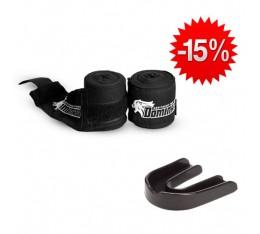 Stack Dominator - Протеткор за уста / черен + Dominator - Бинт черен / 3.50 метра Бойни спортове и MMA, Боксови ръкавици, Бинтове, СТАКОВЕ