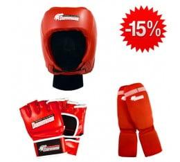 Stack Dominator - Боксова каска / червена + Dominator - MMA Ръкавици / червени + Dominator - Протектор за крака (памучни / червени)