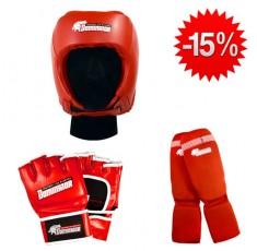 Stack Dominator - Боксова каска / червена + Dominator - MMA Ръкавици / червени + Dominator - Протектор за крака (памучни / червени) Бойни спортове и MMA, Боксови ръкавици, СТАКОВЕ