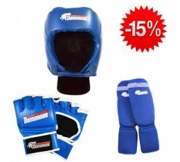 Stack Dominator - Боксова каска / синя + Dominator - MMA Ръкавици / сини + Dominator - Протектор за крака (памучни / сини) Бойни спортове и MMA, Боксови ръкавици, СТАКОВЕ