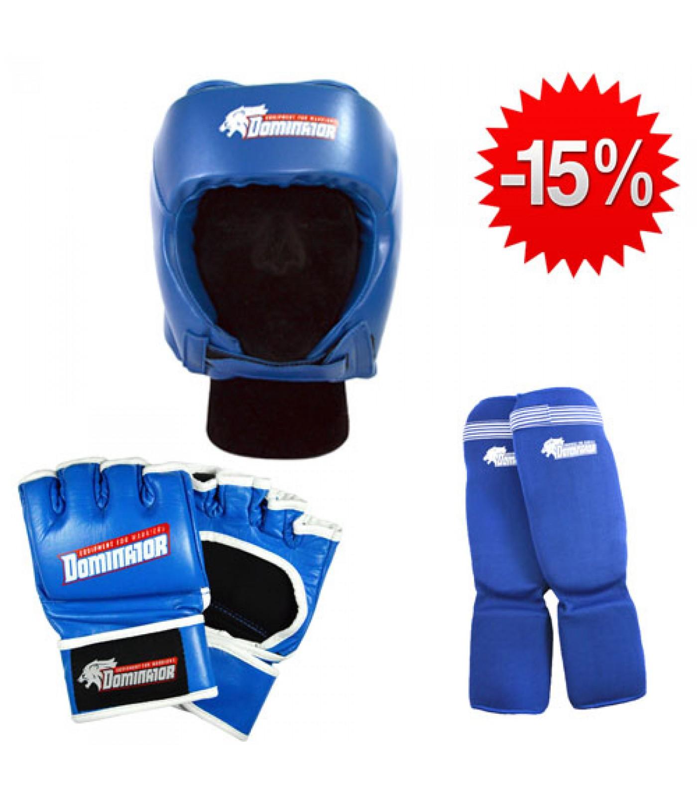 Stack Dominator - Боксова каска / синя + Dominator - MMA Ръкавици / сини + Dominator - Протектор за крака (памучни / сини)