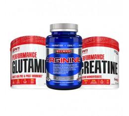 STACK обем и възстановяване -  Creatine + Glutamine + Arginine Хранителни добавки, Креатинови продукти, Сила и възстановяване, Креатин Монохидрат, СТАКОВЕ