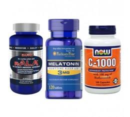 STACK - здрава имунна система и спокоен сън - Vitamin C + R-ALA Antioxidant + Melatonin 3 мг Хранителни добавки, Антиоксиданти, Витамини, минерали и др., Здраве и тонус, Витамин C, СТАКОВЕ