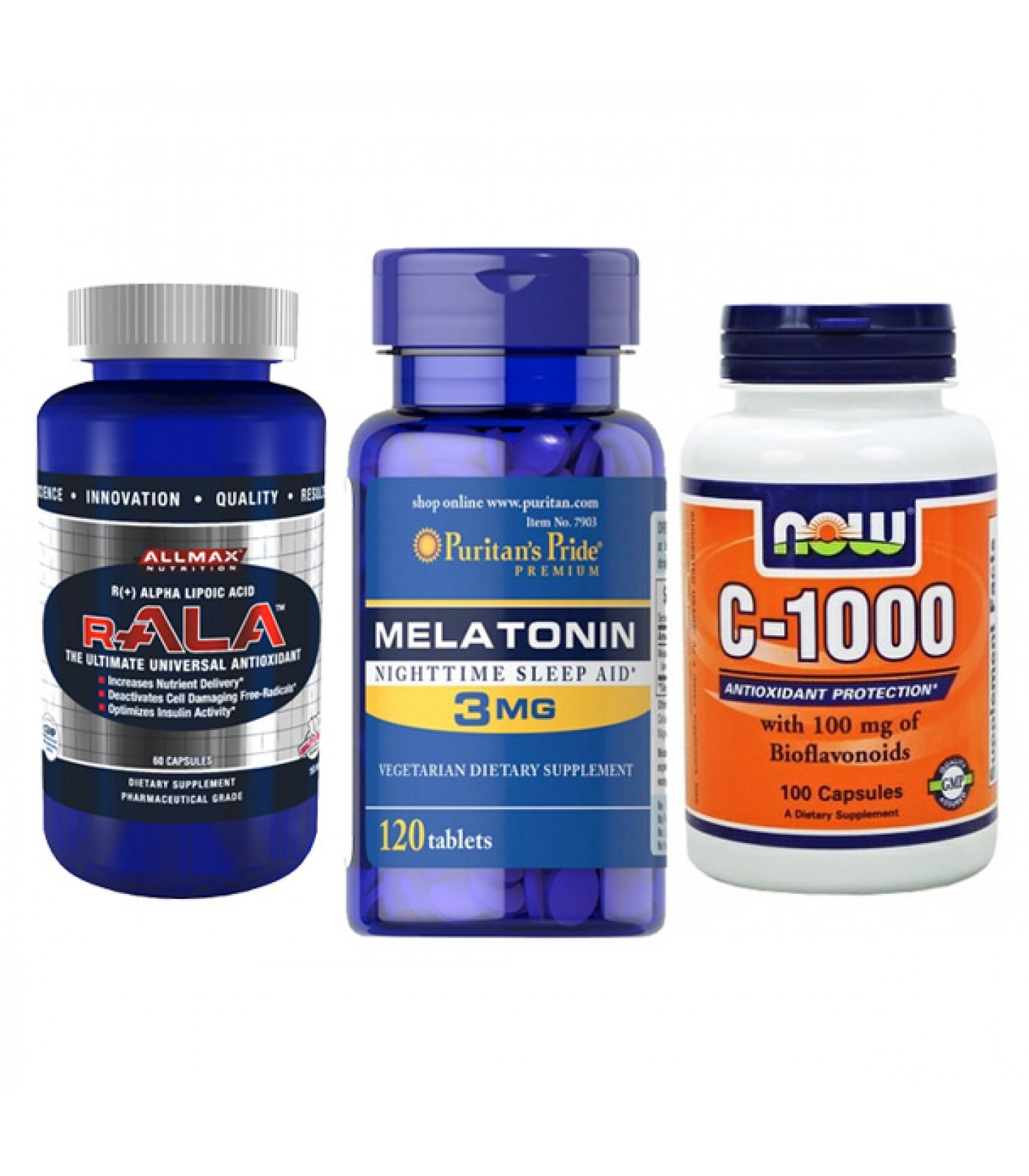 STACK - здрава имунна система и спокоен сън - Vitamin C + R-ALA Antioxidant + Melatonin 3 мг