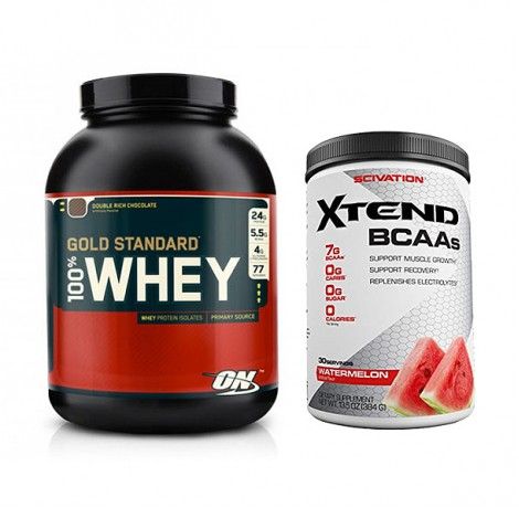 STACK Възстановяване - Optimum Nutrition - 100% Whey Gold Standard / 5lb.​ + Scivation - XTEND - new formula! / 1260 gr.