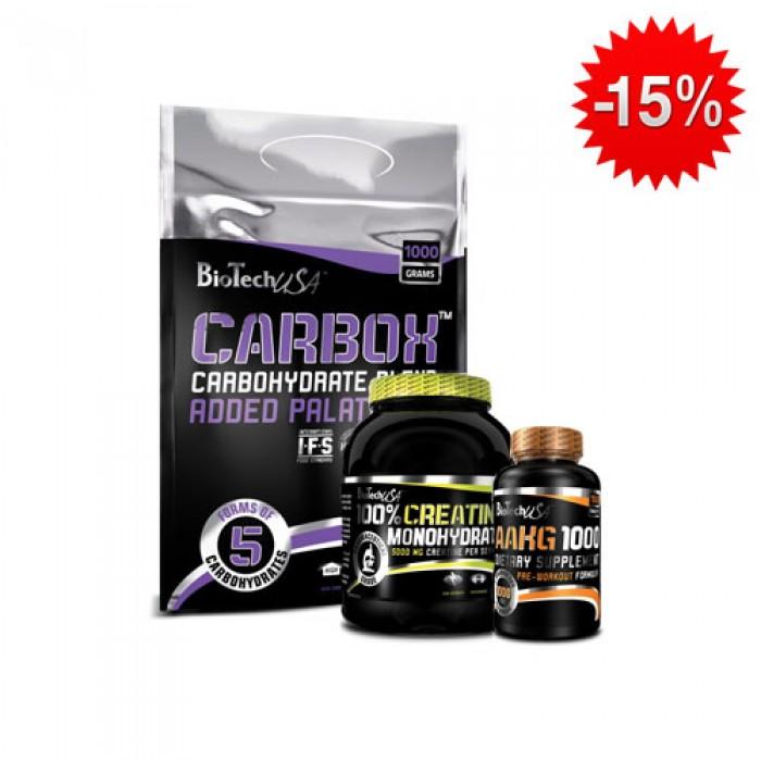 Stack BioTech - Carbox / 1000 gr. + BioTech - 100% Creatine Monohydrate / 500 gr. + BioTech - AAKG-1000 / 100 tab