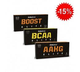 Stack BioTech - Boost Elite / 60 caps. + BioTech - BCAA Elite / 120 caps. + BioTech - AAKG Elite / 120 caps. Хардкор продукти, Трибулус-Терестрис, СТАКОВЕ, Хранителни добавки на промоция