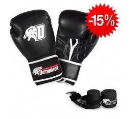 Stack Dominator - Боксови Ръкавци / D Logo - Черни (изк. кожа) + Dominator - Бинт черен / 3.50 метра Бойни спортове и MMA, Боксови ръкавици, Бинтове, СТАКОВЕ