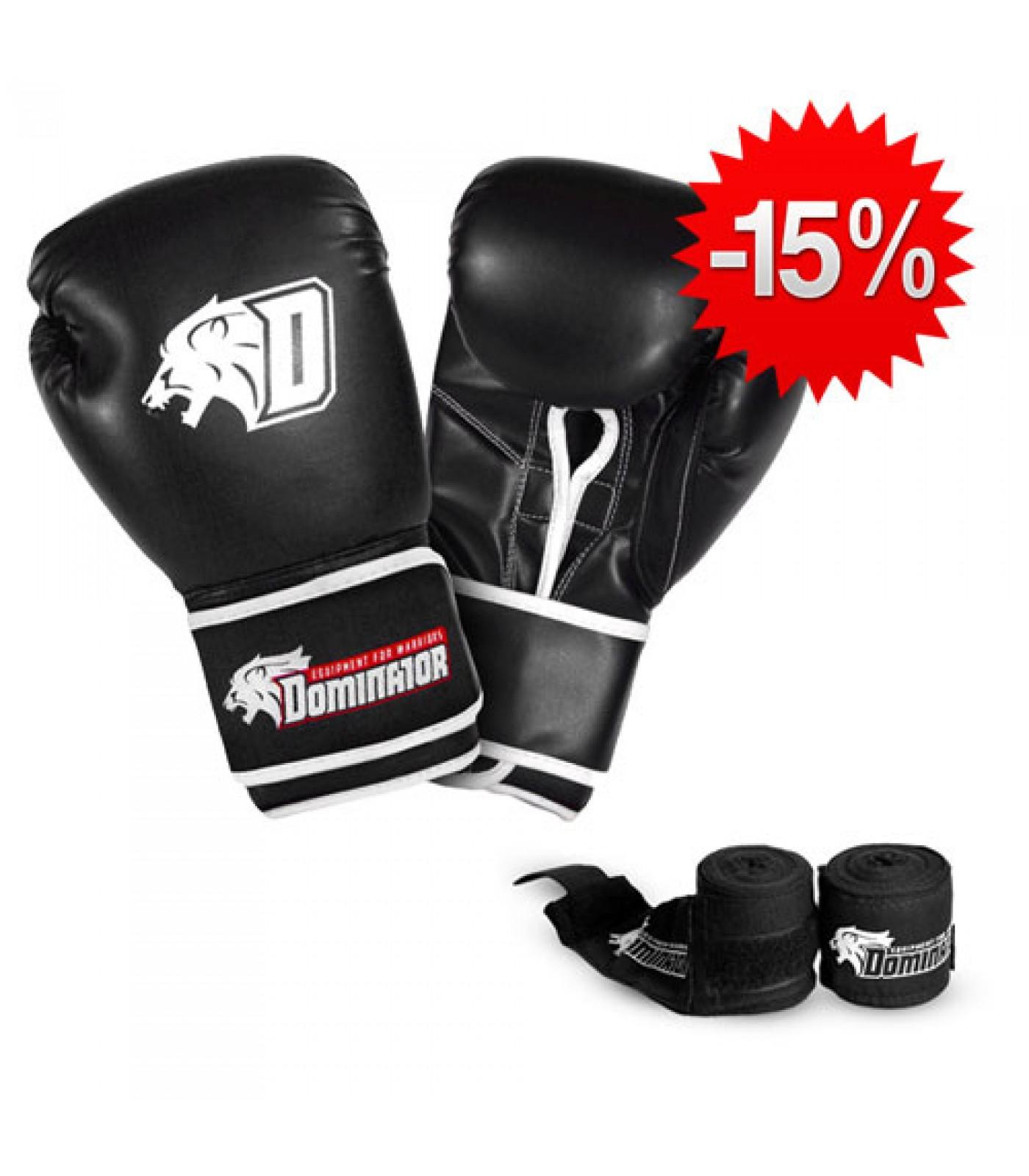 Stack Dominator - Боксови Ръкавци / D Logo - Черни (изк. кожа) + Dominator - Бинт черен / 3.50 метра