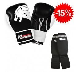 Stack Dominator - Боксови Ръкавци / Lion - (ест. кожа) + Dominator - Протектор за крака (памучни / черни) Бойни спортове и MMA, Боксови ръкавици, СТАКОВЕ