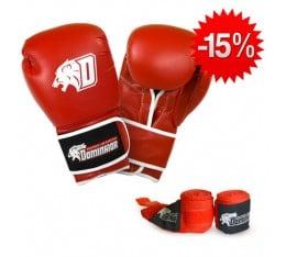 Stack Dominator - Боксови Ръкавци / D Logo - Чeрвени (ест. кожа) + Dominator - Бинт червен / 3.50 метра Бойни спортове и MMA, Боксови ръкавици, Бинтове, СТАКОВЕ