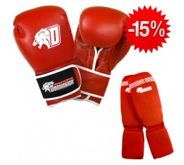 Stack Dominator - Боксови Ръкавци / D Logo - Червени (ест. кожа) + Dominator - Протектор за крака (памучни / червени) Бойни спортове и MMA, Боксови ръкавици, СТАКОВЕ