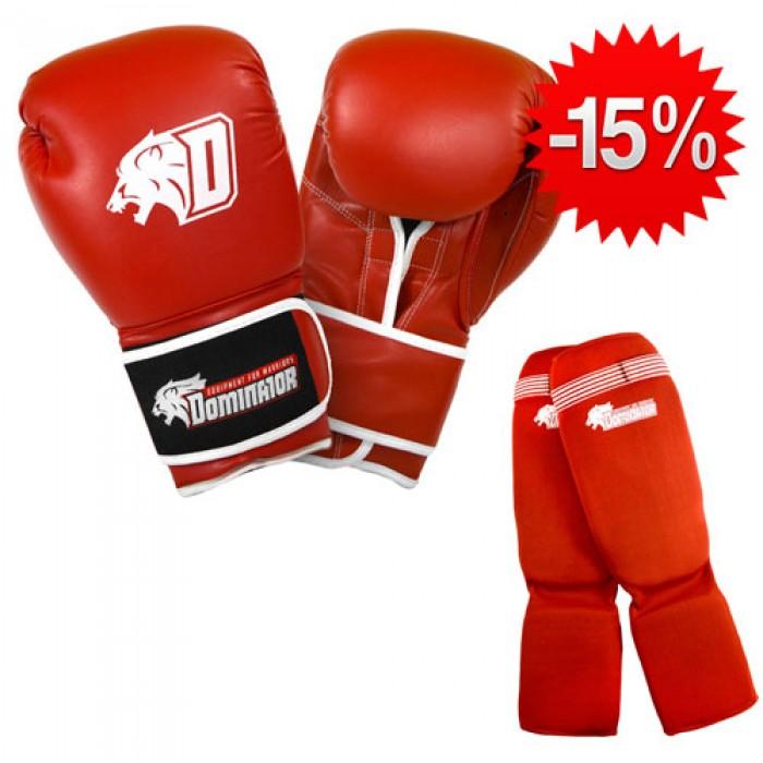 Stack Dominator - Боксови Ръкавци / D Logo - Червени (ест. кожа) + Dominator - Протектор за крака (памучни / червени)