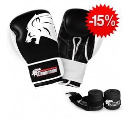 Stack Dominator - Боксови Ръкавци / Lion (ест. кожа) + Dominator - Бинт черен / 3.50 метра Бойни спортове и MMA, Боксови ръкавици, Бинтове, СТАКОВЕ