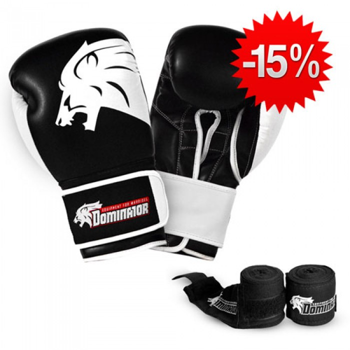 Stack Dominator - Боксови Ръкавци / Lion (изк. кожа) + Dominator - Бинт черен / 3.50 метра