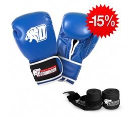 Stack Dominator - Боксови Ръкавци / D Logo - Сини (ест. кожа) + Dominator - Бинт черен / 3.50 метра Бойни спортове и MMA, Боксови ръкавици, Бинтове, СТАКОВЕ