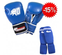 Stack Dominator - Боксови Ръкавци / D Logo - Сини (ест. кожа) + Dominator - Протектор за крака (памучни / сини) Бойни спортове и MMA, Боксови ръкавици, СТАКОВЕ