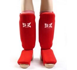 SZ Fighters - Протектор за крака (Памучни / червени) Бойни спортове и MMA, Протектори за крака