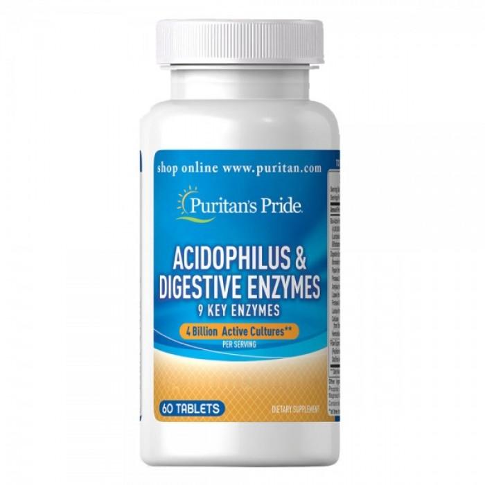 Puritan's Pride - Acidophilus & Digestive Enzymes 60 таблетки