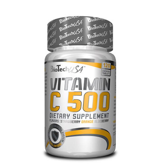 BioTech - Vitamin C 500 овкусени таблетки / 120 tab