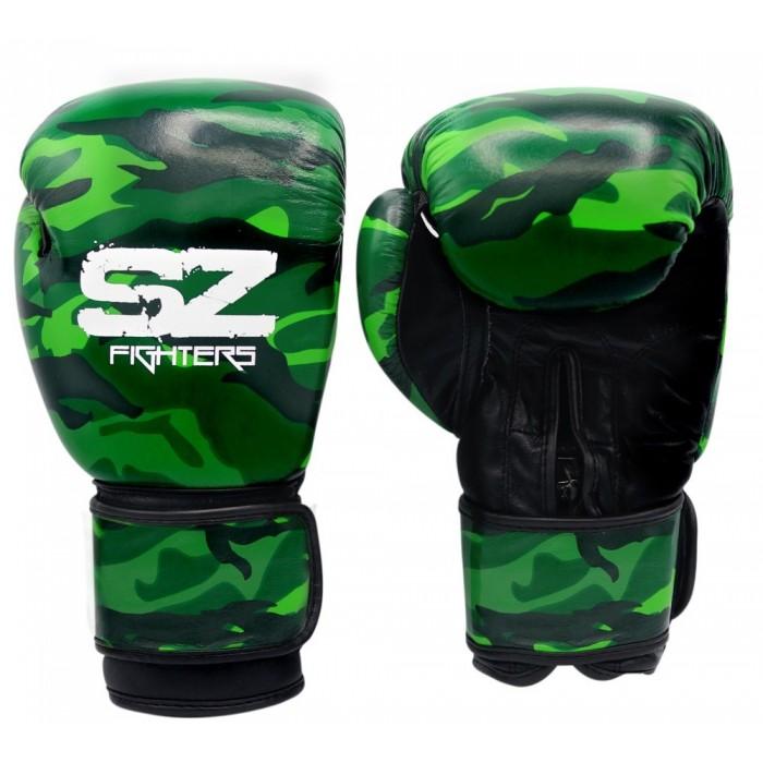 SZ Fighters - Боксови ръкавици Естествена кожа - Camo Green