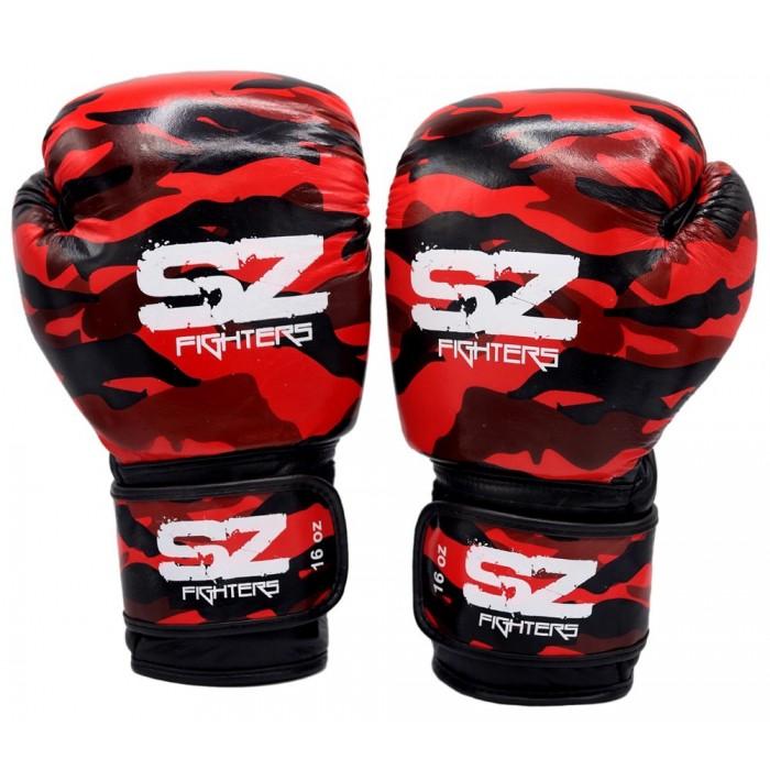 SZ Fighters - Боксови ръкавици Естествена кожа - Camo Red