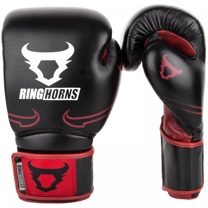 Боксови Ръкавици - Ringhorns Destroyer Boxing Gloves - Leather - Black / Red​