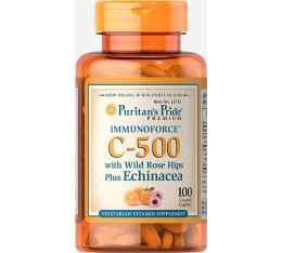 Puritan's Pride - Vitamin C-500 with Rose hips&Echinacea / 100 таблетки