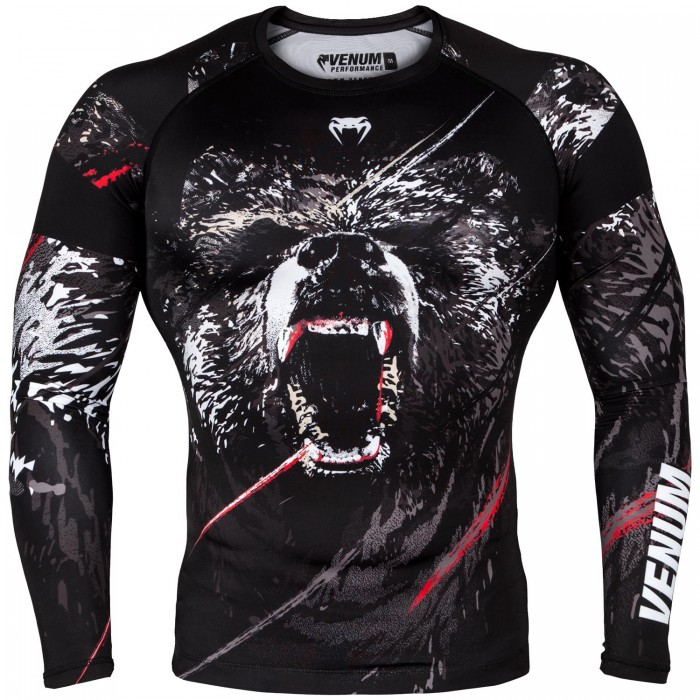 Рашгард - Venum Grizzli Rashguard - Long Sleeves - Black/White​