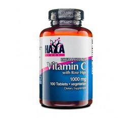 Haya Labs - High Potency Vitamin C with Rose Hips 1000mg / 100 tab Хранителни добавки, Витамини, минерали и др., Витамин C