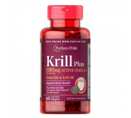 Puritan's Pride - Krill Oil Plus High Omega-3 Concentrate 1085 мг - 60 дражета​ Хранителни добавки, Мастни киселини, Крилово масло