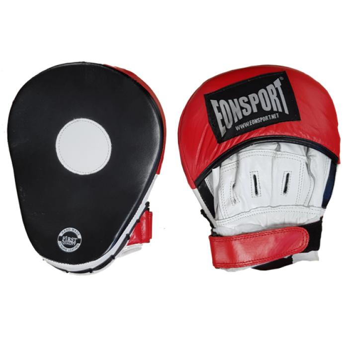 EON Sport  - Извити боксови лапи от естествена кожа - Черно/Червени
