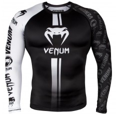 Рашгард - Venum Logos Rashguard Long Sleeves - Black/White​