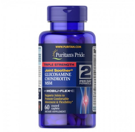 Puritan's Pride - Triple Strength Glucosamine, Chondroitin & MSM Joint Soother / 60 таблетки​