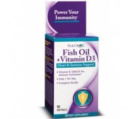 Natrol - Fish Oil + Vitamin D3 / 90 gel caps Хранителни добавки, Мастни киселини, Рибено масло