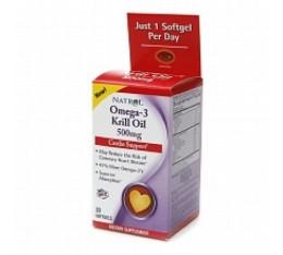 Natrol - Omega-3 Krill Oil 500 mg. / 30 softgel Хранителни добавки, Мастни киселини, Крилово масло
