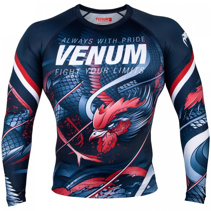Рашгард - Venum Rooster Rashguard - Long Sleeves - Navy Blue/Orange​