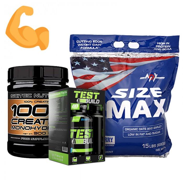 Стак за мускулна маса и сила - тестостеронов бустър + гейнър + креатин