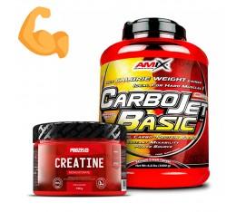 Стак за мускулна маса и сила - гейнър + креатин Хранителни добавки, Гейнъри за покачване на тегло, Креатин Монохидрат, СТАКОВЕ, Хранителни добавки на промоция