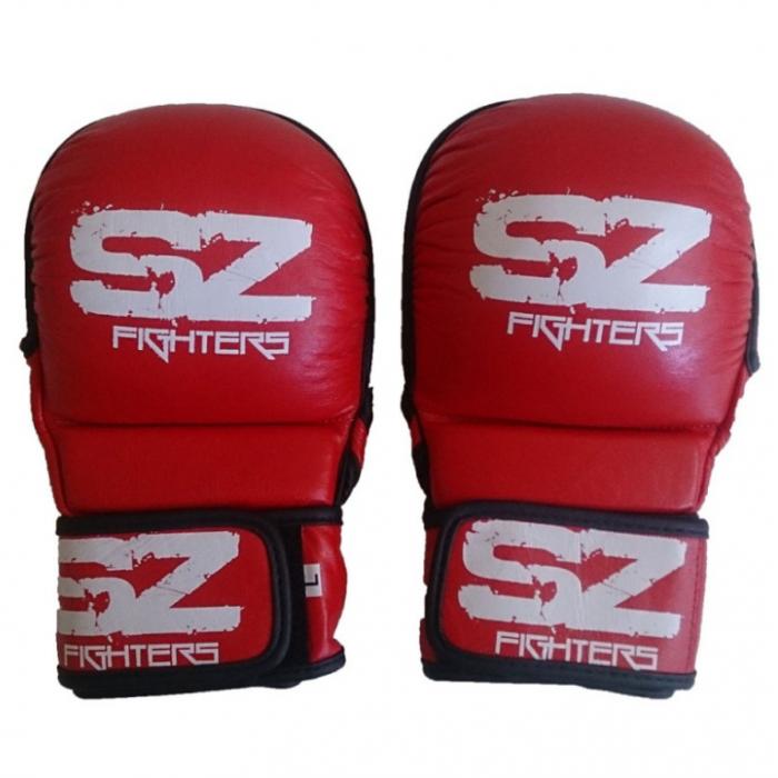 SZ Fighters - Аматьорски ММА ръкавици - Естествена кожа / Червени