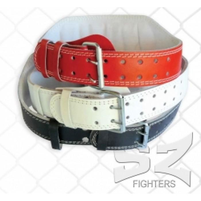 SZ Fighters - Фитнес колан от кожа - 15 см. - черен