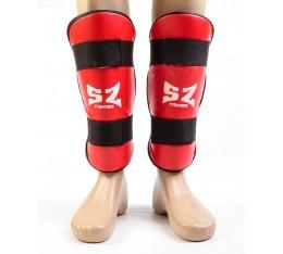 SZ Fighters - Протектори за крака - червени / кожа Бойни спортове и MMA, Протектори за крака