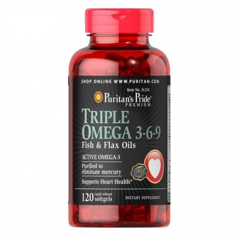 Puritan's Pride - Triple Omega 3-6-9 Fish & Flax Oils / 120 капсули​