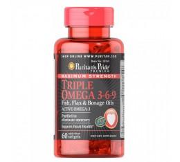 Puritan's Pride - Triple Omega 3-6-9 Fish, Flax & Borage Oils / 60 капсули Хранителни добавки, Мастни киселини, Омега 3-6-9