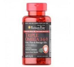 Puritan's Pride - Triple Omega 3-6-9 Fish, Flax & Borage Oils / 60 капсули