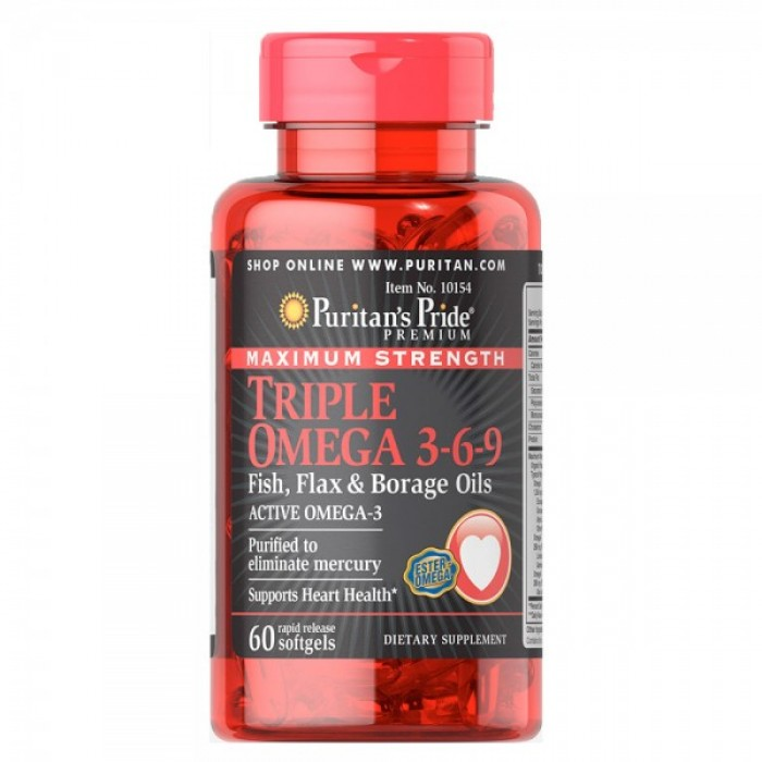 Puritan's Pride - Triple Omega 3-6-9 Fish, Flax & Borage Oils / 60 капсули​