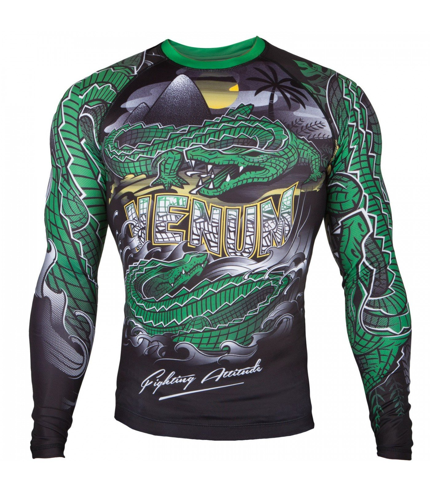 Рашгард - Venum Crocodile Rashguard - Black/Green - Long Sleeves​