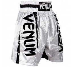 Шорти за Бокс - VENUM ELITE BOXING SHORTS WHITE / BLACK​ Къси гащета